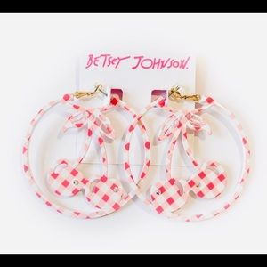 New PICNIC GINGHAM CHERRY EARRINGS PINK
